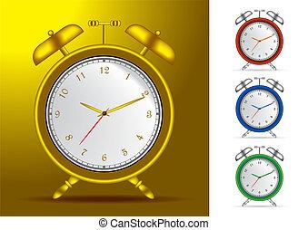 Set of 4 alarm clocks vector illustrations