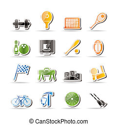 Simple Sports gear and tools icons - vector icon set
