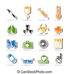 collection of medical themed icons and warning-signs -...