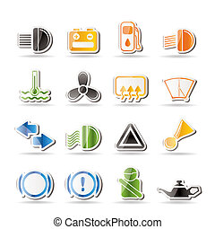 Car Dashboard - simple vector icons