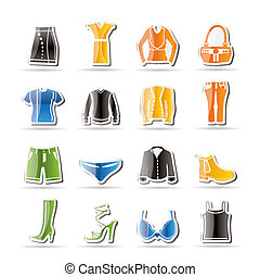 Simple Clothing and Dress Icons - Vector Icon Set