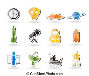 simple, astronáutica, espacio, iconos