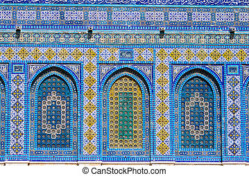 Dome of the Rock - Mosiac on the Dome of the Rock,...