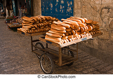 Bread Jerusalem - Cart of bread in the streets of Old...
