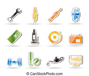 Simple Car Parts and Services icons - Vector Icon Set 1