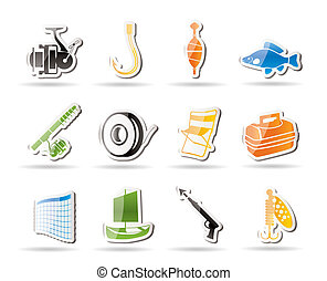 Simple Fishing and holiday icons - vector icon set