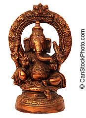 indù, dio, ganesha, fatto mano, metallo, statua
