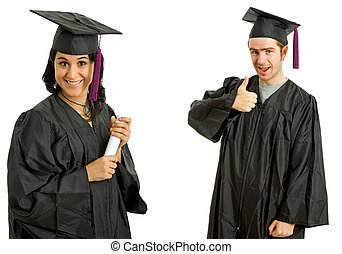 graduation - happy young couple on graduation day, isolated...