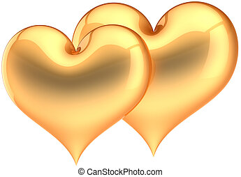 Golden heart shapes. Luxury love - Two golden heart shapes...