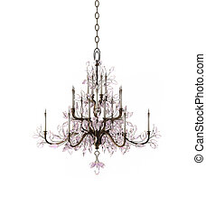 Luxury Glass Chandelier on white background