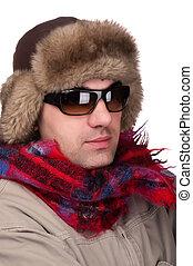 óculos de sol, homem, pele, chapéu