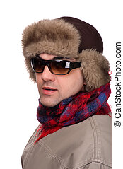 man in fur hat with sunglasses
