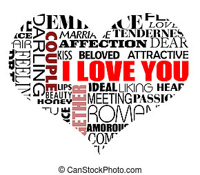 various love words - Heart vector illustration with various...
