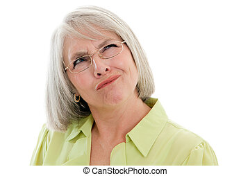 Mature woman confused - Mature, attractive Caucasian woman...