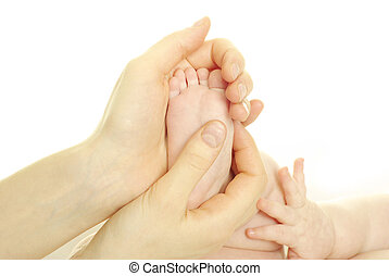 baby feet - newborn baby feet isolated on white