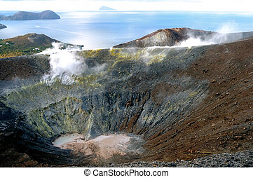 Crater Vulcano - Sea view over crater Vulcano on Vulcano...