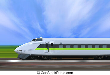 train - High-speed train with motion blur in the country