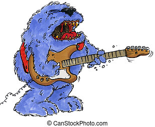 rock monster guitar - a hairy monster singing and playing...