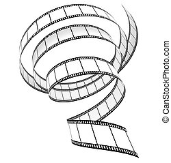 Segment film rolled down on a white background