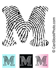 Fingerprint Alphabet Letter M