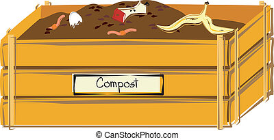 Compost Bin - A wooden compost bin with an eggshell, apple...