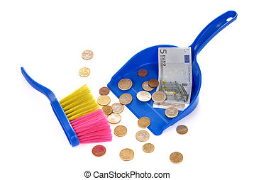 Brush sweeping euro coins and banknote isolated