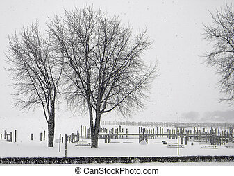 Whiteout - Blizzard conditions in a Michigan marina....