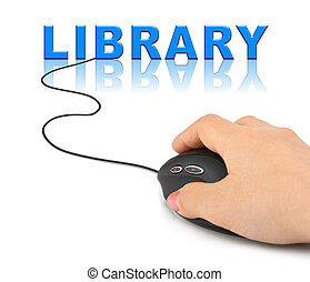 Hand with computer mouse and word Library - internet concept