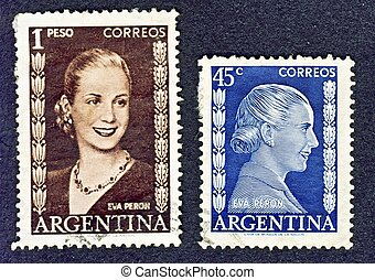 First lady of Argentina - Portrait of Evita (Eva Peron) on...