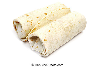 burritos - a pair of mexican burritos isolated on a white...