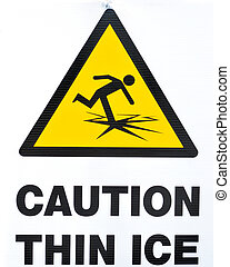 Thin Ice Warning Sign - A thin ice warning sign for frozen...