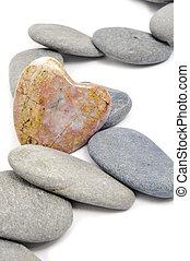 zen love background - zen stones, one heart shapped, on a...