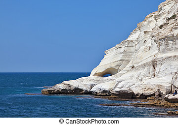 Picturesque sea coast on border of Israel. White rocks and...