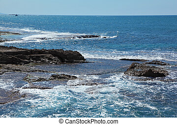 The sea coast in the early spring - Picturesque sea coast in...