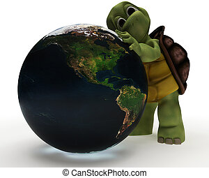 Tortoise Caricature Hugging a Globe - 3D Render of a...