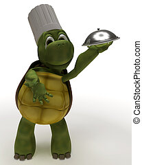 Tortoise Caricature as a Chef - 3D Render of a Tortoise...
