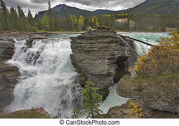 "Rustling falls - Falls ""Athabasca"" in a deep canyon in the..."