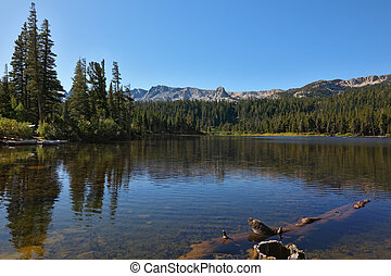 Charming  lake surrounded by mountains