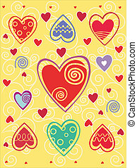 Valentines day background with heart on the yellow