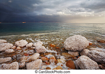 Winter Blue storm cloud on the Dead Sea - Winter on the Dead...