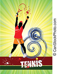Woman Tennis player poster Colored Vector illustration for...