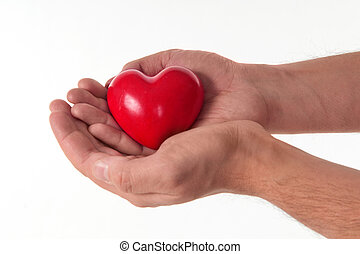 Red heart on the palm isolated on white background - Male...