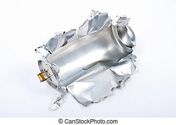 Torn aluminum can