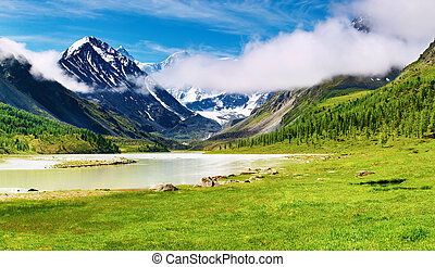 Mountain landscape with lake and forest