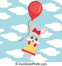 hare with balloon in sky