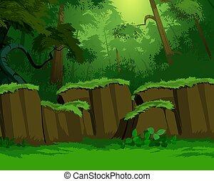 artystyczny, tło, dżungla