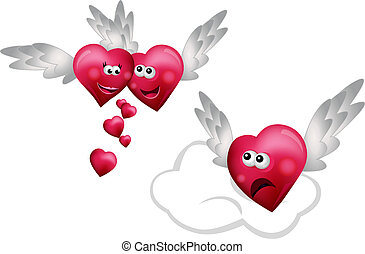 Three Flying Hearts isolated on white background