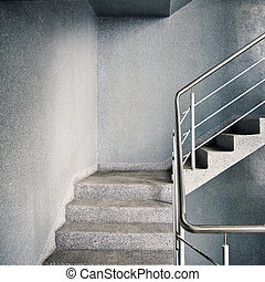 Empty stairway - Empty modern building stairway