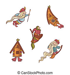 set of cute fairytale characters