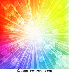 rainbow sun - Sun with rays on rainbow blurred background....